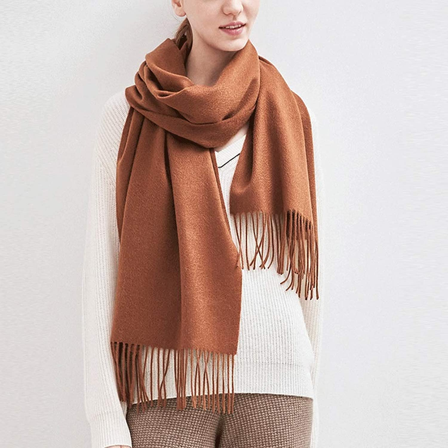 CCF Scarf Ms Keep Warm Cold Resistant Big Shawl Dual Use Autumn Winter 200×40cm V (color   Caramel)