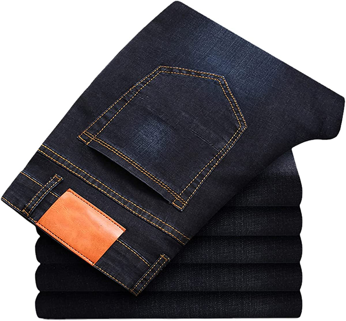 Spring and Autumn Classic Men's Plus Size Jeans Fashion Business Casual Stretch Slim Black and Blue Men's Pants