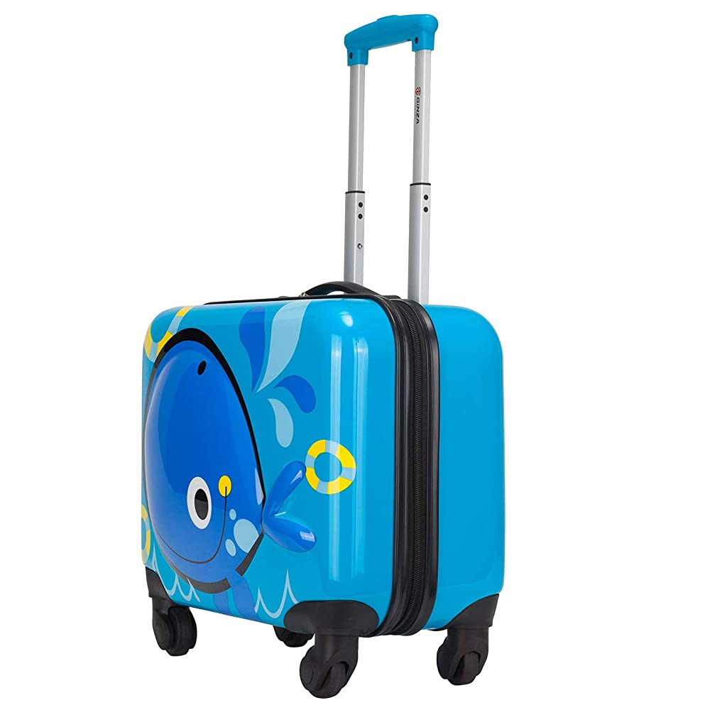 リスクがっかりするアルミニウムkroeus(クロース)キッズスーツケース 子供用キャリーケース 3D立体図案 動物柄 鯨 機内持込可 27L ABS+PC製 キャリーバー2段調節 キャリーバッグ