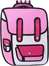 ForHe 3D Jump Style 2D Drawing From Cartoon Paper Backpack School Comic Bookbag Waterproof Travel Daypack,Nylon,Pink