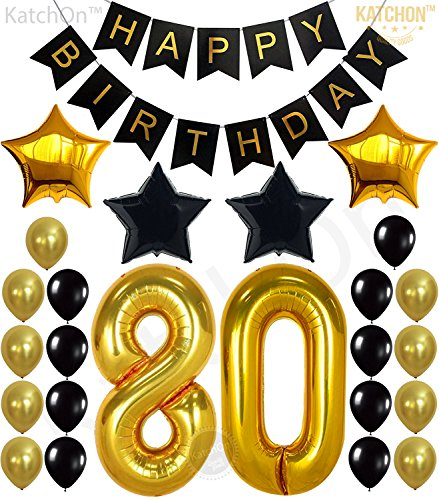 KATCHON 80th Birthday Decorations Party Supplies - Large Number 80 | Happy Birthday Banner | Black and Gold Balloons | 80th Birthday Party Decorations Kit | Great for 80 Year Old Party Supplies