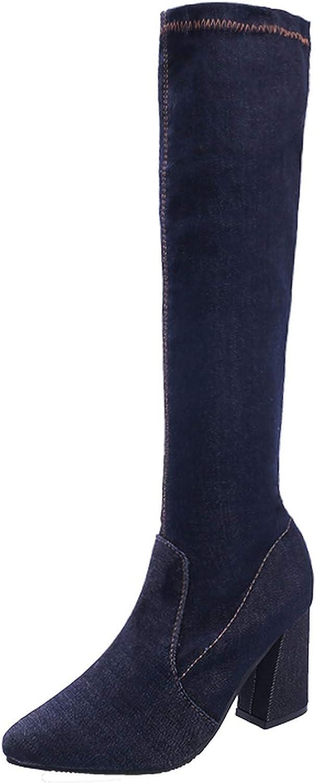 Autumn Winter Women Fashion Denim Jeans Knee-high Boots Women Boots High Heels Long Boots