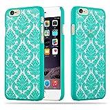 Cadorabo Apple iPhone 6 / iPhone 6S Hardcase Hülle in GRÜN Blumen Paisley Henna Design Schutzhülle – Handyhülle Bumper Back Hülle Cover