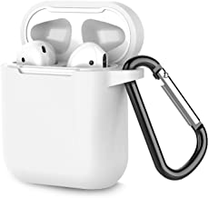 Airpods Case, Coffea AirPods Accessories Shockproof Case Cover Portable & Protective Silicone Skin Cover Case for Airpods 2 & 1 (Front LED Not Visible)(White)