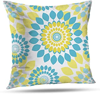 Decorativepillows 20 x 20 inch Throw Pillow Covers,Reversible Florals Aqua Yellow Pattern Double-Sided Decorative Home Decor Indoor/Outdoor Garden Sofa Bedroom Car Kitchen Nice Gift