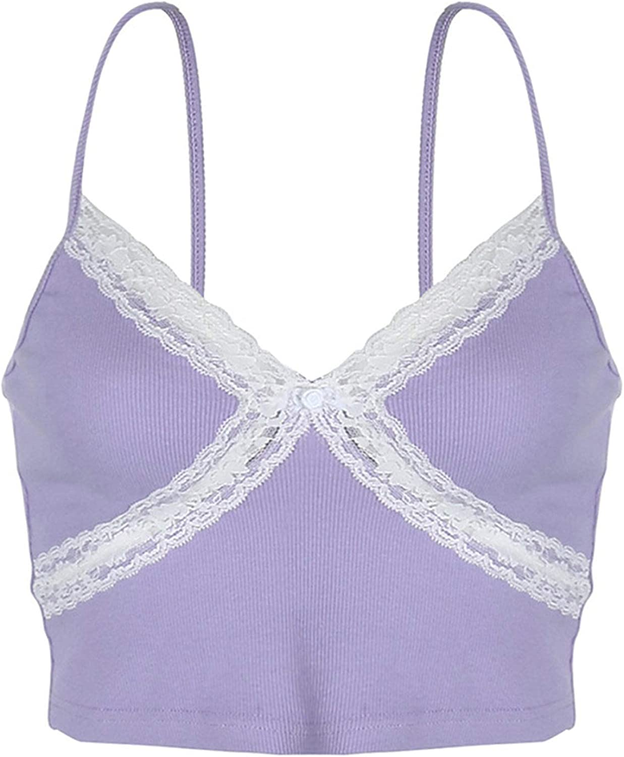 Women's Sexy Lace Floral Crop Tops Summer Patchwork V Neck Camisole Spaghetti Strap Tank Shirt Cami Top (Purple,Large)