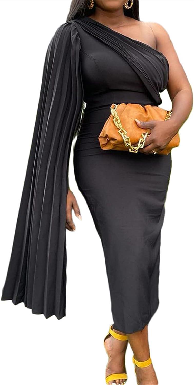 SAMACHICA Women One Shoulder Ruffle Dress Off Shoulder Layer Sexy Bodycon Cocktail Midi Dress