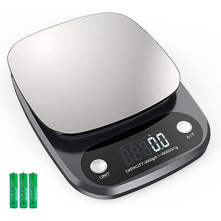 Balance Cuisine Electronique 10 kg, Balance de Précision avec Ecran LCD Jusqu'à 0,1 g, Balance Alimentairee en Acier Inoxydable pour la Cuisson