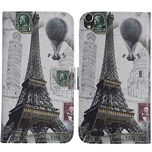 TienJueShi Eiffelturm Flip Book Stand Brief Leder Tasche Schütz Hülle Handy Hülle Abdeckung Fall Wallet Cover Etüi Skin Für Medion Life P5004 MD 99253 5 inch