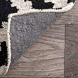 ZHOUAICHENG Zeitgenössische Wollteppich Indoor Outdoor Trellis Area Teppich Schwarz Weiß Diamond Area Teppich Modern Abstract Viele Größen erhältlich,140 * 200cm - 5