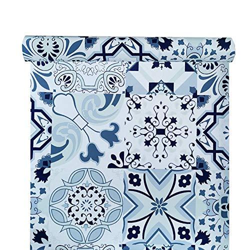PoetryHome - Papel Pintado para Pared (45 x 117 cm), diseño de Azulejos, Color Azul
