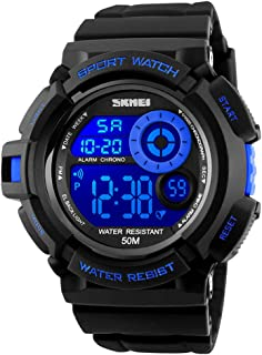 SKMEI Boys Sport Style Digital Watch Waterproof LED 7 Colors Changeable Backlight Soft PU Band Wristwatch