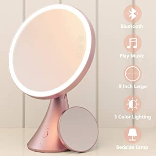 Babyltrl Lighted Makeup Mirror, Rechargeable 9 Inch Vanity Mirror with Bluetooth Speakerphone, 1X/5X Magnifying Mirror, 3 Color Lighting Modes and Dimmable Makeup Mirror with Lights