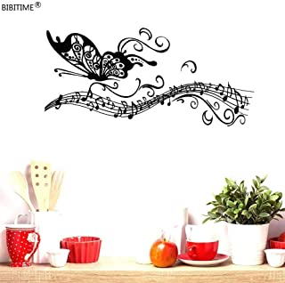 BIBITIME Long Tail Musical Staves Butterfly Vinyl Sticker Music Note Wall Decal for Fans Bedroom Living Room School Classroom Nursery Bedroom Children Kids Room Decor (Black, DIY)