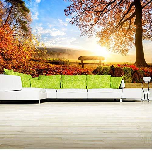 Lifme anpassad 3D väggmålning, papel höst landskap träd lövverk bänk natur tapet, vardagsrum soffa tv vägg sovrum 3D tapet – 250 x 175 cm
