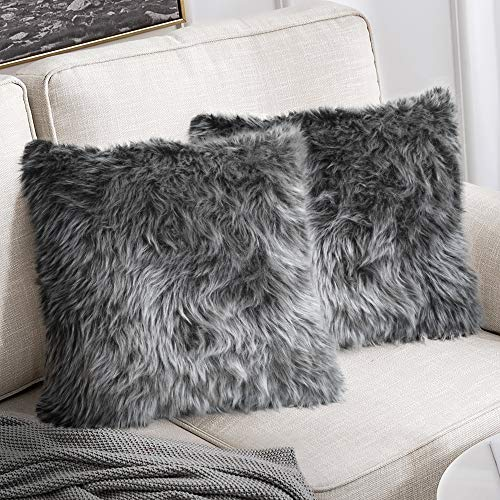 "Peshtemania Luxury Style Grey Faux Fur Throw Pillow Case (2packs 18""x18"") Decorative Cushion Cover for Sofa Couch Bedroom Living Room and Car Best for Modern, Marble and Glam Decor"