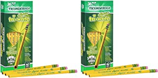 Ticonderoga Laddie Tri-Write Pencils, Wood-Cased #2 HB Soft, Intermediate Size Triangular with Eraser, Yellow, 36-Pack (13042) Pack of 2