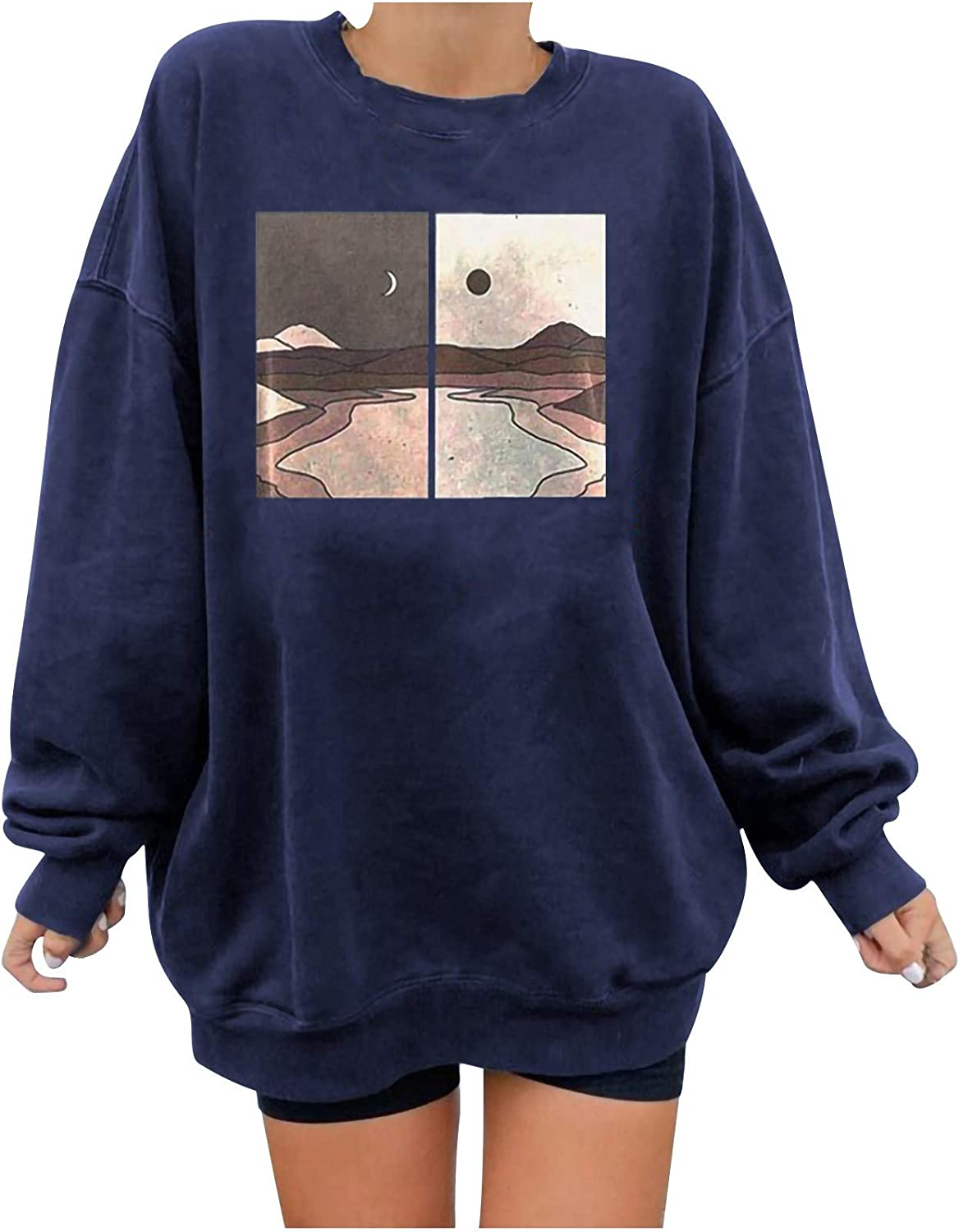 Oversized Sweatshirts For Women, Vintage Graphic Crewneck Pullover Tops Long Sleeve Sweaters Casual Loose Shirts