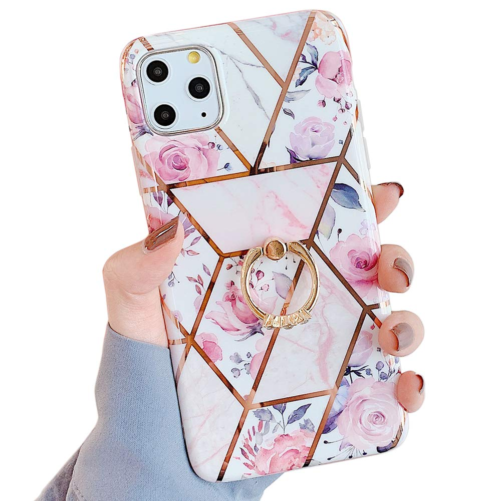 Amazon Com Qokey Iphone 11 Pro Max Case Marble Case Cute Fashion Design For Men Women Girls With 360 Degree Rotating Ring Kickstand Soft Tpu Shockproof Cover For Iphone 11 Pro Max 6 5 Inch
