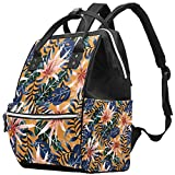 Inhomer Seamless Colorful Tropical Leaves Plants Diaper Bag Travel Mom Bags Nappy Backpack Large Capacity for Baby Care