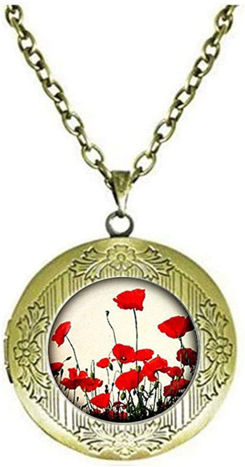 Poppy Locket Necklace, Poppy Locket Necklace, Red&White Flower Jewelry, Nature Locket Necklace, Glass Locket Necklace
