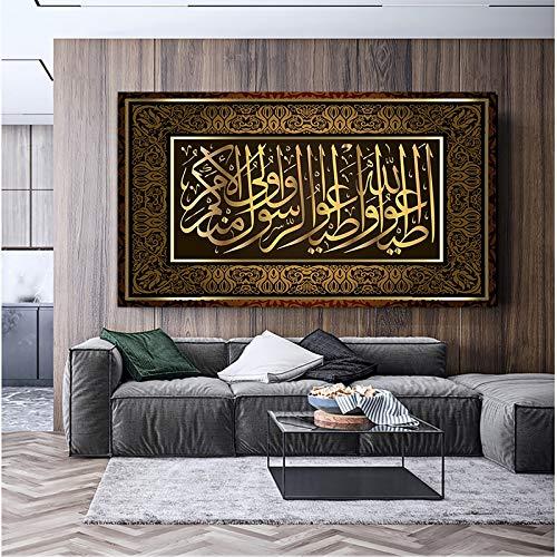 DIY 5D Diamant Malerei Kit 5D Diamantkunst,Islamische Kalligraphie auf Leinwand, die muslimische religiöse Plakate und große Drucke der modernen Wandbilder für Hauptdekoration Malt