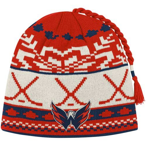 promo code 01b1a 017e1 NHL Reebok Washington Capitals Youth Woven Tassel Knit Hat - Red Navy  Blue Natural