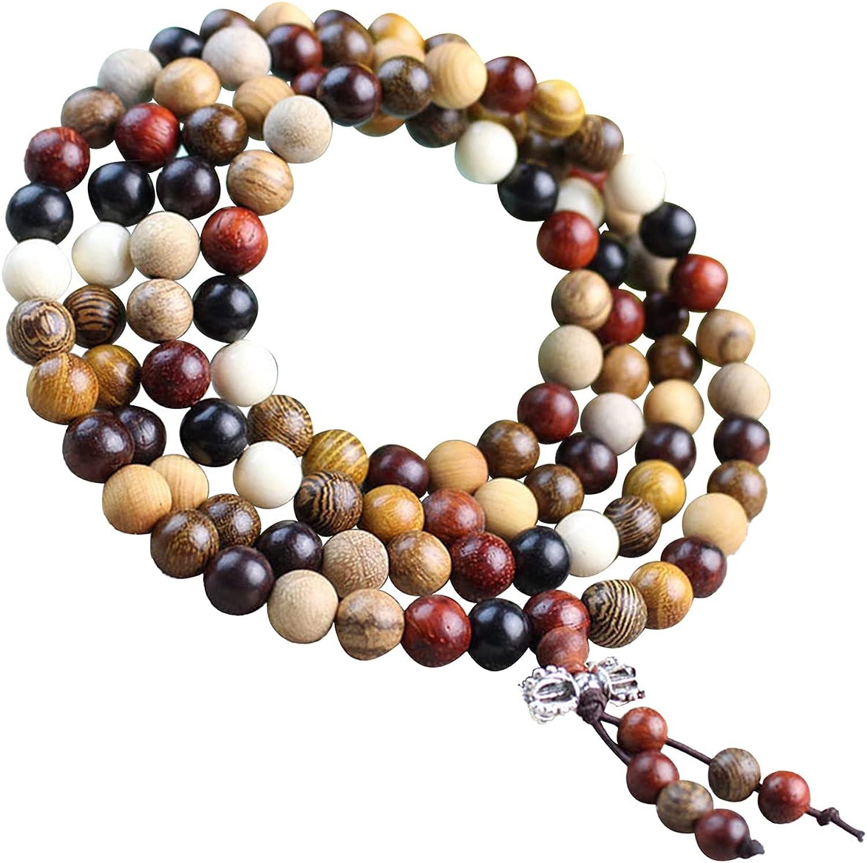 Tibetan Buddhist Lama Beads Agarwood Mahogany Sandalwood Bracelet, Natural Wood Beads Strand Necklace, Rosewood Jewelry for Prayer Meditation Yoga Healing Energy Collection Hanging Decoration for Man Woman Various