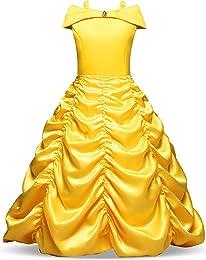 NNJXD Princesse Belle Robe Filles Halloween Cospla