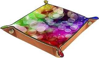 Boîte de rangement de bureau en cuir PU pliable, boîte de rangement pliable, plateau pour jeux de table, belles lumières