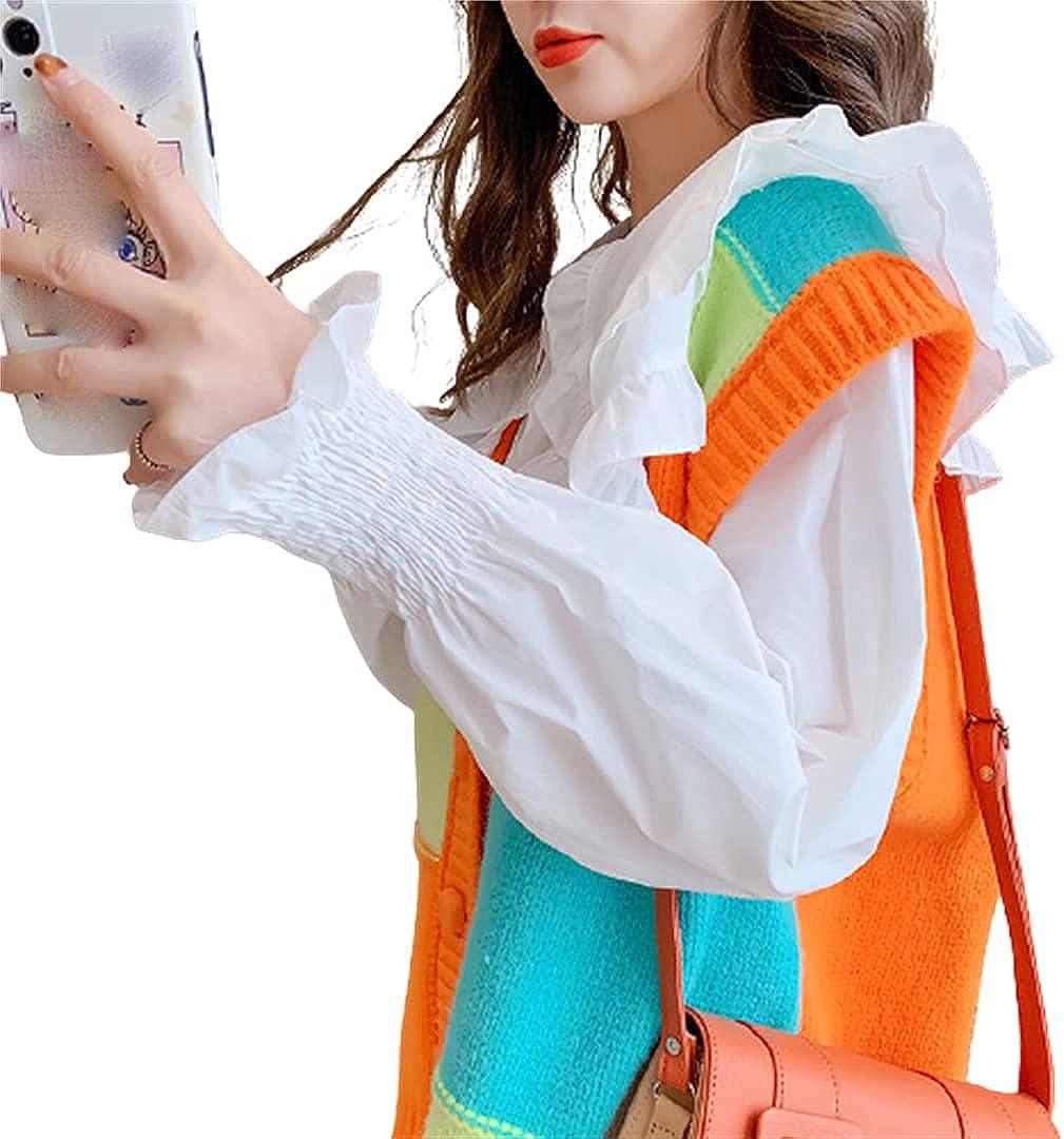 Cardigan Vest Blouses 2 Piece Suits for Women V Neck Knitted Vest Long Sleeve Shirt Sets