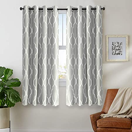 jinchan Moroccan Printed Curtains for Bedroom Living Room Linen Textured Thermal Insulated Curtains Grommet Window Drapes 72 inch 2 Panels Soft Grey