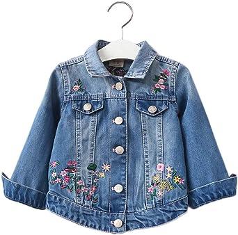 PanpanBox Jeans Chaqueta Niña Manga Larga Bordado Floral Cazadoras Denim Casual Bebé Coat 1-8 Años Chica Outwear Abrigo