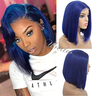 Bob Wig Royal Blue 13x6 Longer Line Lace Front Straight Human Hair Wig Pre Plucked with Baby Hair 150% Density Glueless Brazilian Remy Real Hair Colored Bob Cut Wig Bleached Knots for Women 14 Inch