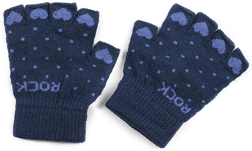Women's Cold Weather Gloves Half finger knit wool cute outdoor driving plus velvet fingerless touch screen