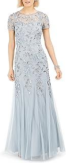Adrianna Papell Women's Floral Beaded Godet Long Dress