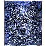 Super Soft Plush Fleece Throw Blanket (Mystic Wolf Tree)
