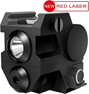 Laspur USA Mini Tactical Sub Compact Rail Mount Laser Sight with High Lumen CREE LED Flashlight Light Integrated Combo with Strobe for Pistol Rifle Handgun Gun