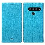 Simicoo LG V40 ThinQ Flip PU Leder Brieftasche Hülle Kartenhalter Ständer Magnetische Schutzhülle Klar Silikon TPU Full Body Stoßfest Tasche Dünn Wallet Hülle für LG V40 ThinQ, LG V50 ThinQ, blau