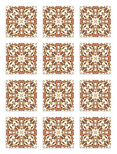Panorama Adesivi per Piastrelle in Vinile PVC Set di 72 Piastrelle di 10x10 cm Piastrella Idraulica Tipo Orientale Arancia - Piastrelle Adesive Cucina Bagno - Stikers per Pareti - Mattonelle Adesive