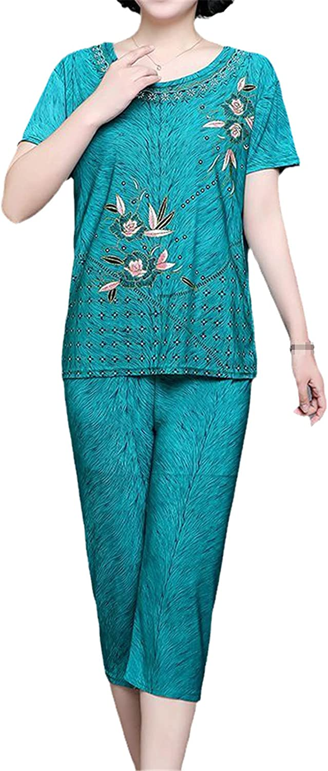 Middle-Aged Clothing 2 Piece Set Womens Short Sleeve T-Shirt+Pant Suit Set Large Size Loose Sporting Set Green XXXL