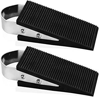 Rubber Door Stopper Decorative, 2 Pack Heavy Duty Rubber Door Stop Wedge - Made of Rubber and Stainless Steel Works On All Floor Types, Brushed and Carpet