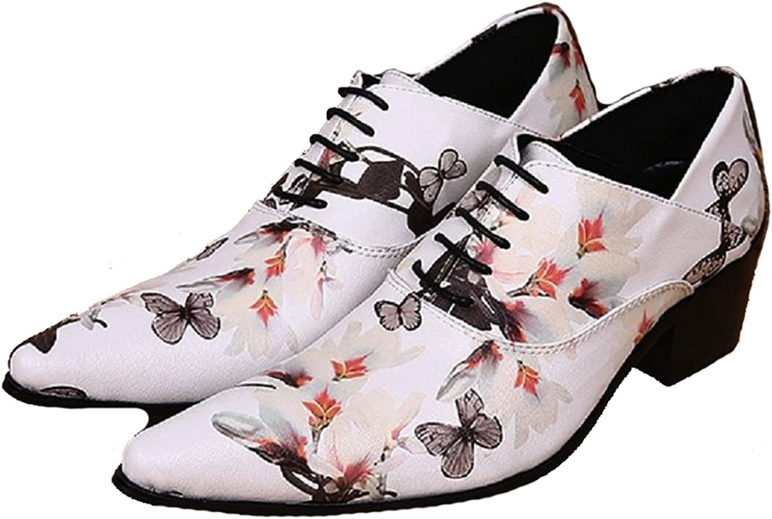 Cover Plus Size 5-12 New White Floral Print Genuine Leather Dress Oxfords Mens shoes