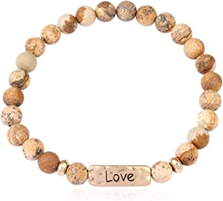 Inspirational Bar Natural Stone Stretch Prayer Bracelet - Christian Religious Message Adjustable Cuff Bangle Blessed/Faith/Love/Hope/Bible