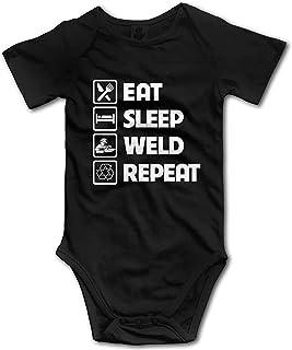 Yangg Eat Sleep Weld Repeat Strampler für Kleinkinder/Kleinkinder, kurzärmelig, Overall Outfits für Baby, Schwarz
