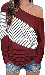 Autumn Winter Women's Off Shoulder Blouse Fashion V-Neck Colorblock Long Sleeve Loose Knit Tops
