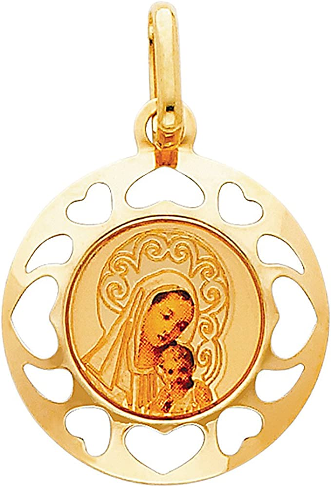 14k REAL Yellow Gold Religious Blessed Virgin and Mary Outstanding Ranking TOP20 Jesus Ena