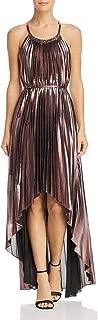 BCBG Max Azria Womens Valerie Metallic Halter Cocktail Dress