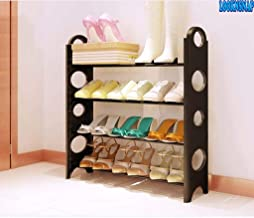 LookNSnap Foldable 4 Layer Shoe Rack, Iron and Plastic, Black