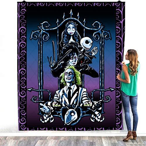 Zoko Apparel Tim-Burton Beetlejuice Jack Skellington Edward Scissorhands Corpse Bride - Manta de felpa acogedora para decorar dormitorios (60 x 80 pulgadas)